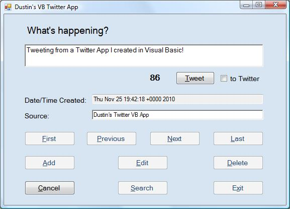 Twitter App Created with Visual Basic
